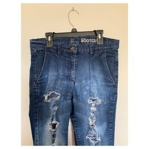 Destroyed/Distressed NY&C Low Rise Bootcut Jeans